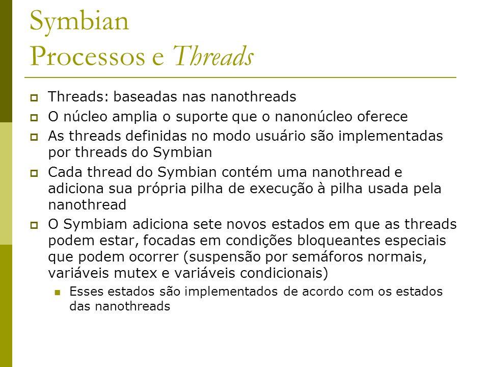 Symbian Processos e Threads Threads: baseadas nas nanothreads O núcleo amplia o suporte que o nanonúcleo oferece As threads definidas no modo usuário