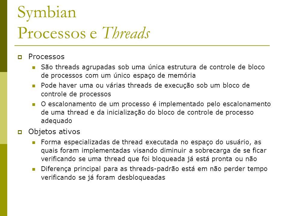 Symbian Processos e Threads Processos São threads agrupadas sob uma única estrutura de controle de bloco de processos com um único espaço de memória P