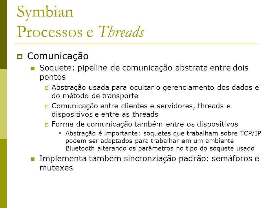 Symbian Processos e Threads Comunicação Soquete: pipeline de comunicação abstrata entre dois pontos Abstração usada para ocultar o gerenciamento dos d