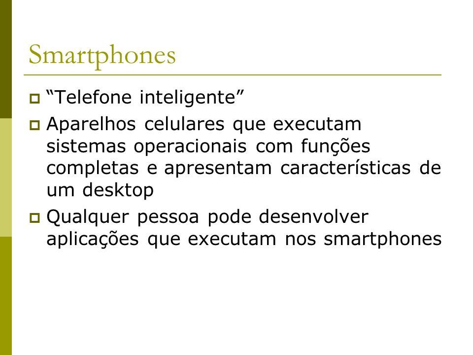 Smartphones Telefone inteligente Aparelhos celulares que executam sistemas operacionais com funções completas e apresentam características de um deskt