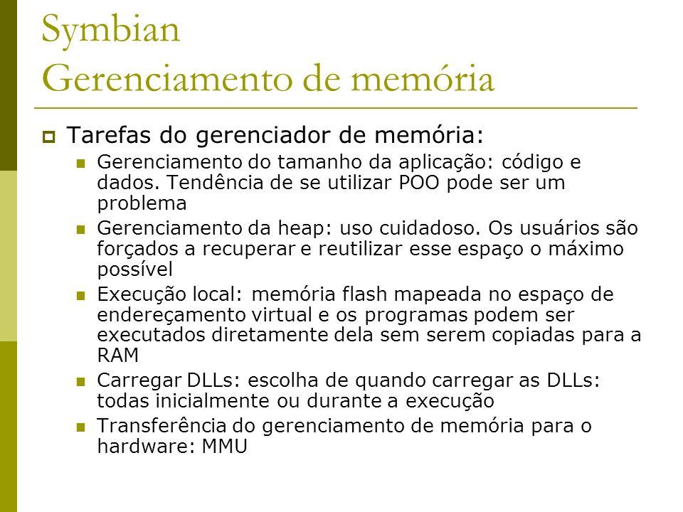 Symbian Gerenciamento de memória Tarefas do gerenciador de memória: Gerenciamento do tamanho da aplicação: código e dados. Tendência de se utilizar PO