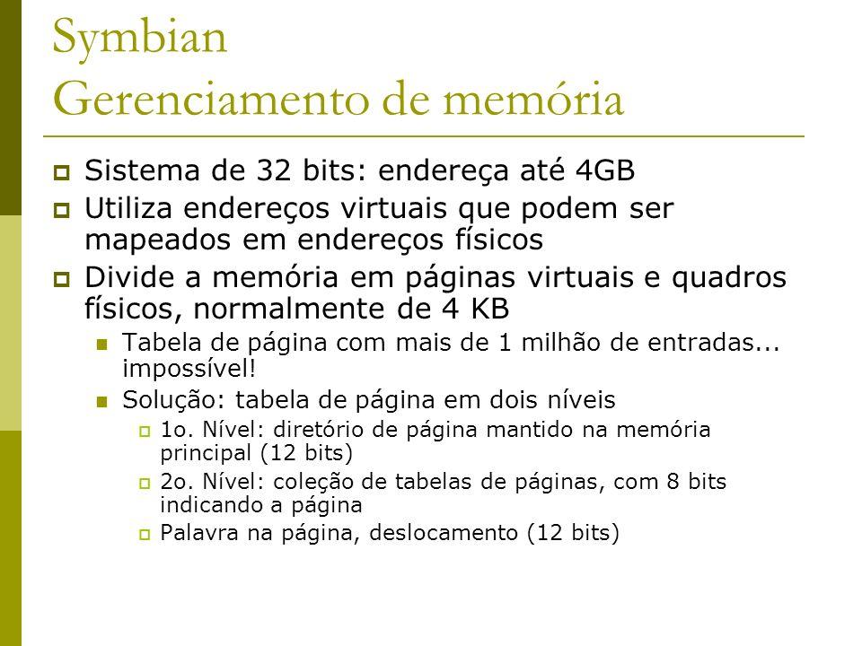 Symbian Gerenciamento de memória Sistema de 32 bits: endereça até 4GB Utiliza endereços virtuais que podem ser mapeados em endereços físicos Divide a