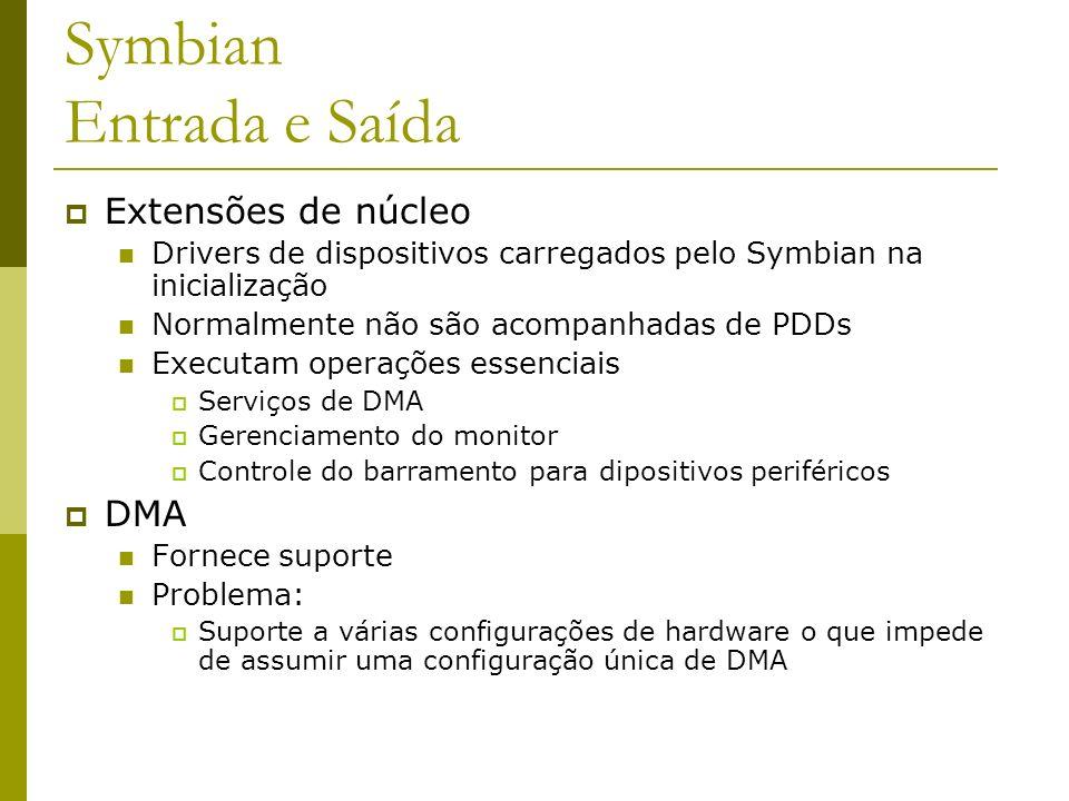 Symbian Entrada e Saída Extensões de núcleo Drivers de dispositivos carregados pelo Symbian na inicialização Normalmente não são acompanhadas de PDDs