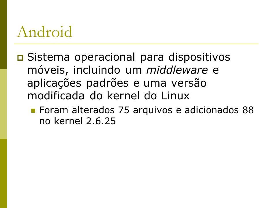 Android Sistema operacional para dispositivos móveis, incluindo um middleware e aplicações padrões e uma versão modificada do kernel do Linux Foram al