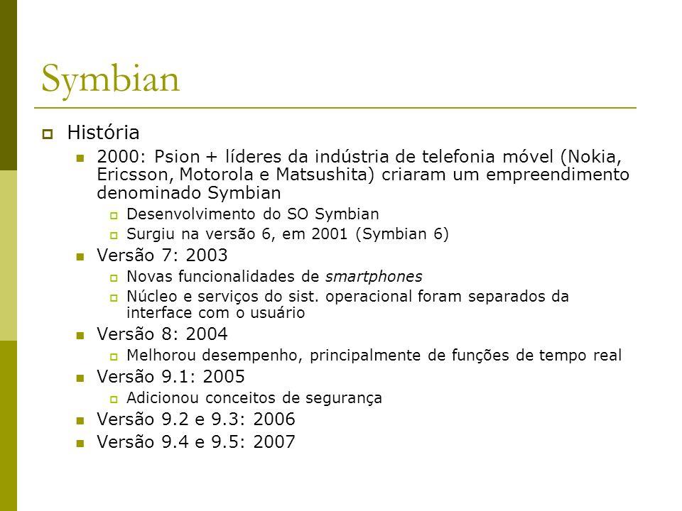 Symbian Características Projetado especificamente para smartphones Orientado a objetos Projeto de micronúcleo (microkernel) Utiliza a arquitetura cliente/servidor Possui características de um sistema operacional de desktop Ênfase em comunicação e multimídia