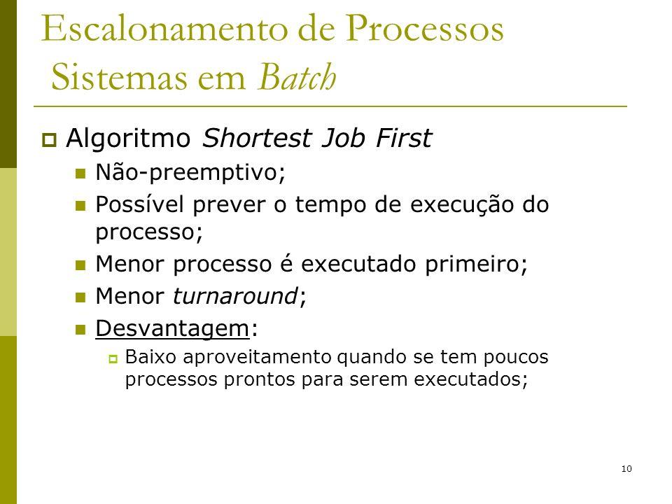 10 Escalonamento de Processos Sistemas em Batch Algoritmo Shortest Job First Não-preemptivo; Possível prever o tempo de execução do processo; Menor pr