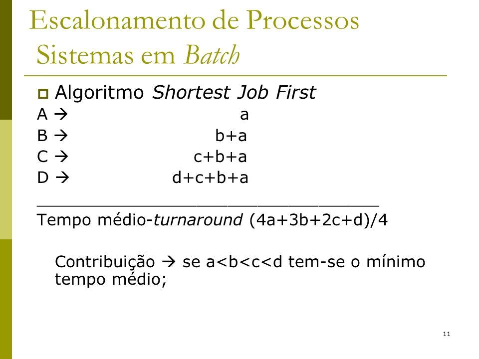 11 Escalonamento de Processos Sistemas em Batch Algoritmo Shortest Job First A a B b+a C c+b+a D d+c+b+a __________________________________ Tempo médi