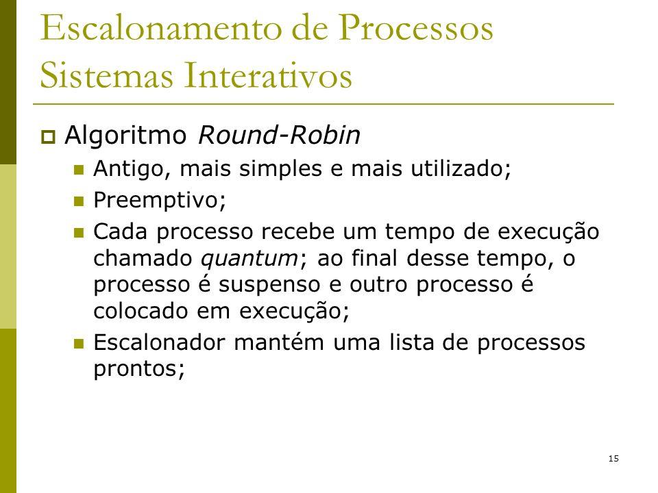 15 Escalonamento de Processos Sistemas Interativos Algoritmo Round-Robin Antigo, mais simples e mais utilizado; Preemptivo; Cada processo recebe um te