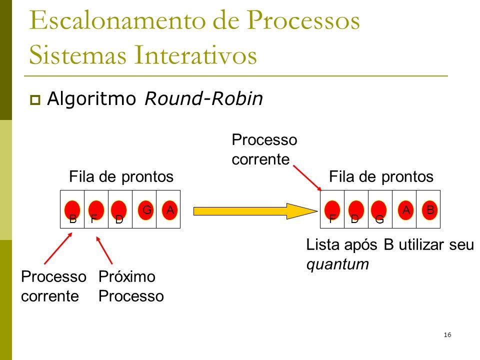 16 Escalonamento de Processos Sistemas Interativos Algoritmo Round-Robin Fila de prontos G D A BF A G B FD Processo corrente Próximo Processo Lista ap
