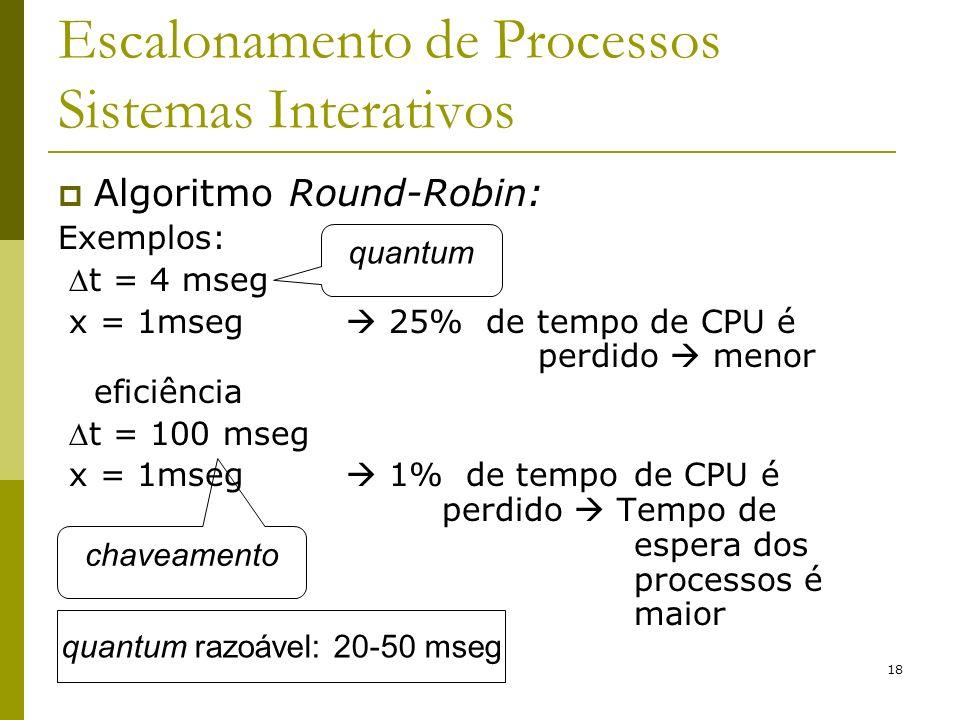 18 Escalonamento de Processos Sistemas Interativos Algoritmo Round-Robin: Exemplos: t = 4 mseg x = 1mseg 25% de tempo de CPU é perdido menor eficiênci