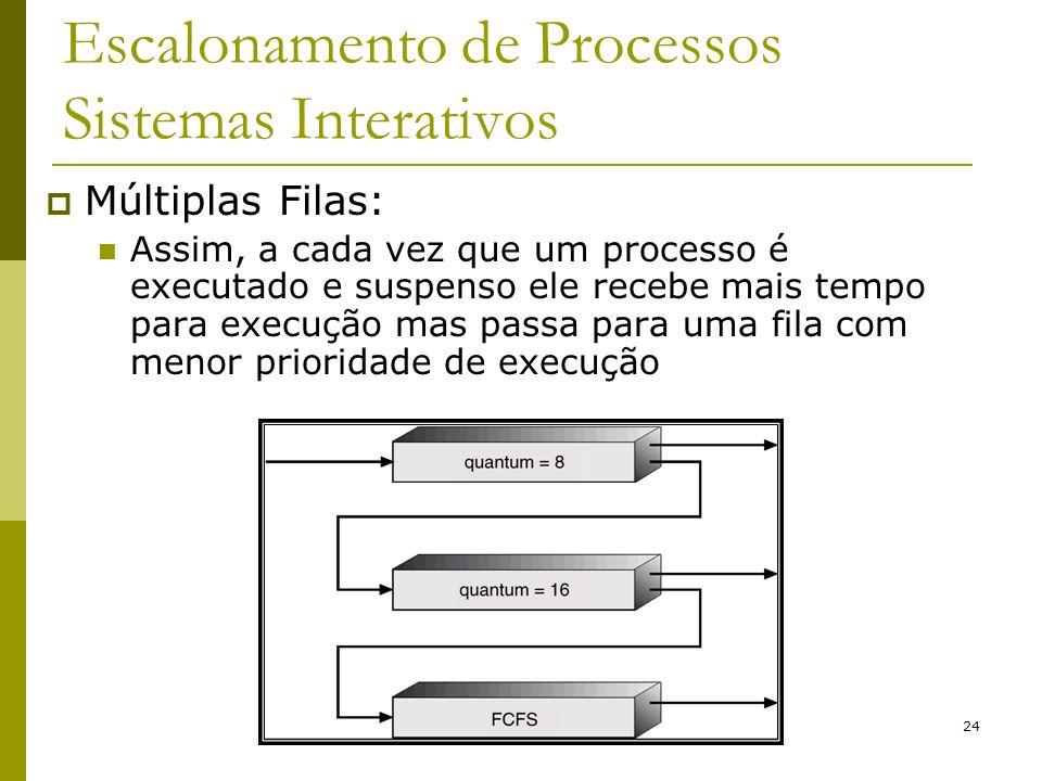 24 Escalonamento de Processos Sistemas Interativos Múltiplas Filas: Assim, a cada vez que um processo é executado e suspenso ele recebe mais tempo par