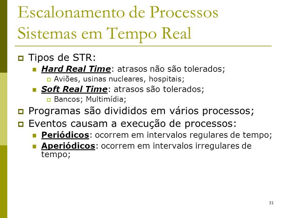 31 Escalonamento de Processos Sistemas em Tempo Real Tipos de STR: Hard Real Time: atrasos não são tolerados; Aviões, usinas nucleares, hospitais; Sof
