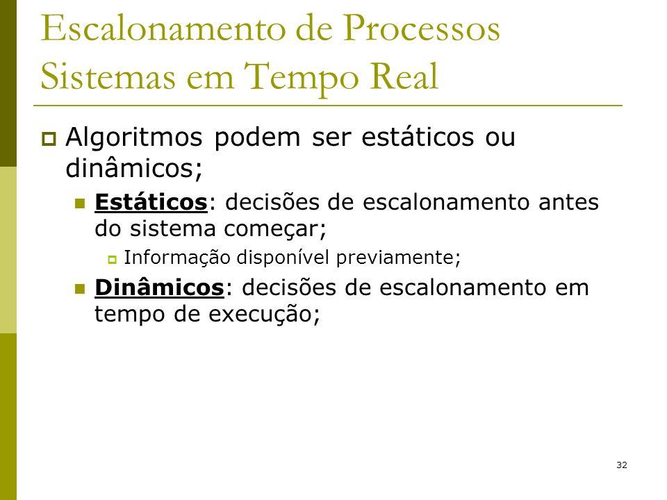 32 Escalonamento de Processos Sistemas em Tempo Real Algoritmos podem ser estáticos ou dinâmicos; Estáticos: decisões de escalonamento antes do sistem