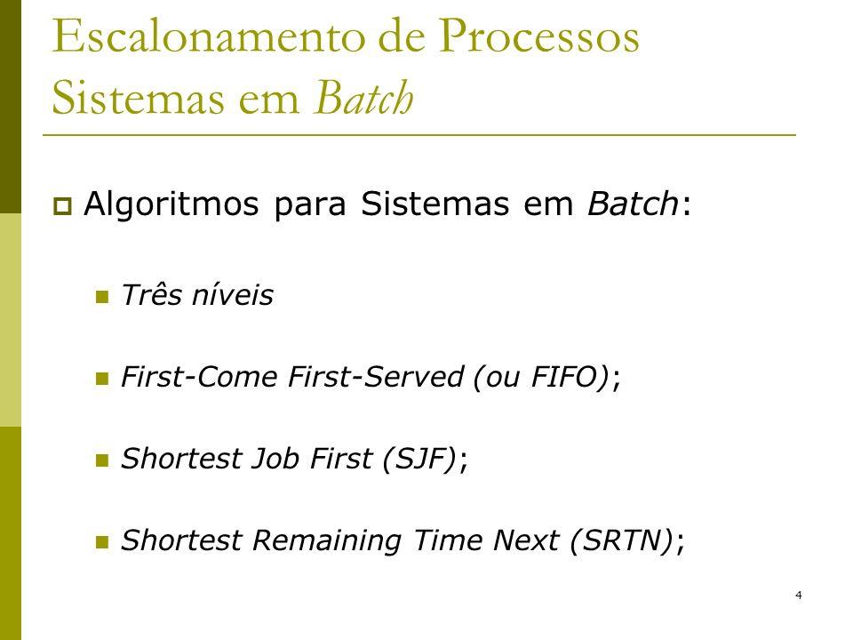 4 Escalonamento de Processos Sistemas em Batch Algoritmos para Sistemas em Batch: Três níveis First-Come First-Served (ou FIFO); Shortest Job First (S