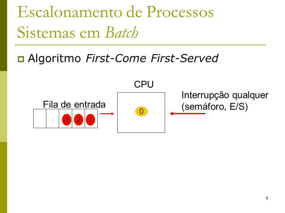 8 Escalonamento de Processos Sistemas em Batch Algoritmo First-Come First-Served Interrupção qualquer (semáforo, E/S) CPU 0 Fila de entrada 2 3 1