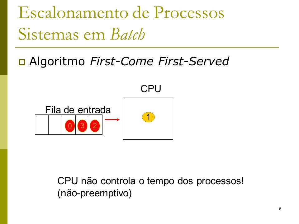 9 Escalonamento de Processos Sistemas em Batch Algoritmo First-Come First-Served CPU não controla o tempo dos processos! (não-preemptivo) CPU 1 Fila d