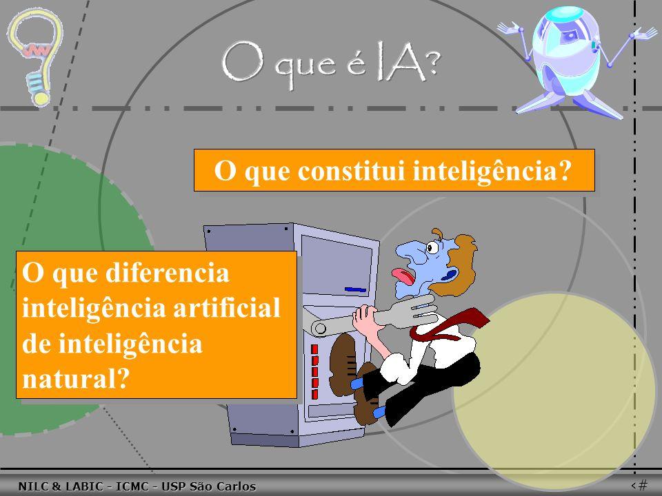 011010 101010 100100 010101 110100 101100 100101 001001 010011 010101 100111 001101 011010 101010 100100 010101 110100 101100 NILC & LABIC - ICMC - USP São Carlos 25 O que constitui inteligência.
