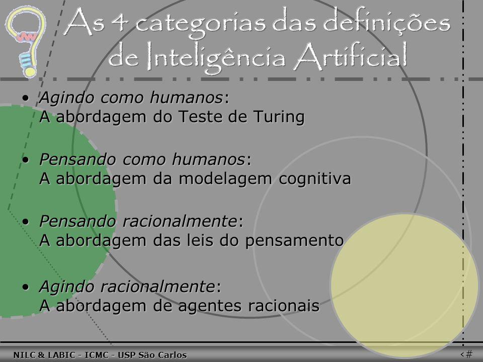 011010 101010 100100 010101 110100 101100 100101 001001 010011 010101 100111 001101 011010 101010 100100 010101 110100 101100 NILC & LABIC - ICMC - USP São Carlos 31 Agindo como humanos: A abordagem do Teste de TuringAgindo como humanos: A abordagem do Teste de Turing Pensando como humanos: A abordagem da modelagem cognitivaPensando como humanos: A abordagem da modelagem cognitiva Pensando racionalmente: A abordagem das leis do pensamentoPensando racionalmente: A abordagem das leis do pensamento Agindo racionalmente: A abordagem de agentes racionaisAgindo racionalmente: A abordagem de agentes racionais