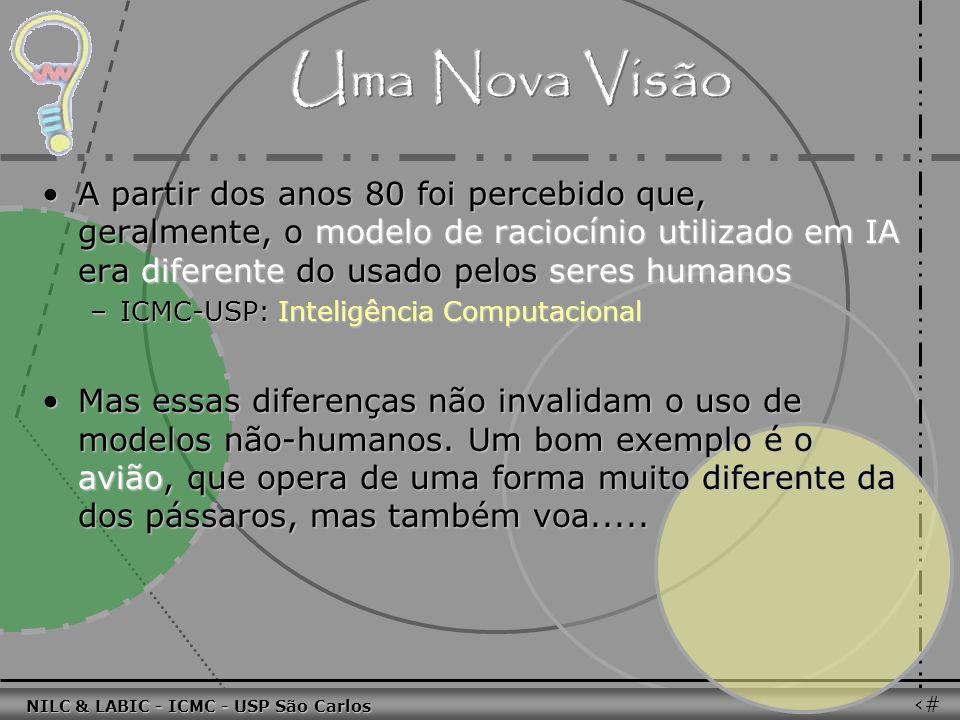 011010 101010 100100 010101 110100 101100 100101 001001 010011 010101 100111 001101 011010 101010 100100 010101 110100 101100 NILC & LABIC - ICMC - USP São Carlos 52 A partir dos anos 80 foi percebido que, geralmente, o modelo de raciocínio utilizado em IA era diferente do usado pelos seres humanosA partir dos anos 80 foi percebido que, geralmente, o modelo de raciocínio utilizado em IA era diferente do usado pelos seres humanos –ICMC-USP: Inteligência Computacional Mas essas diferenças não invalidam o uso de modelos não-humanos.