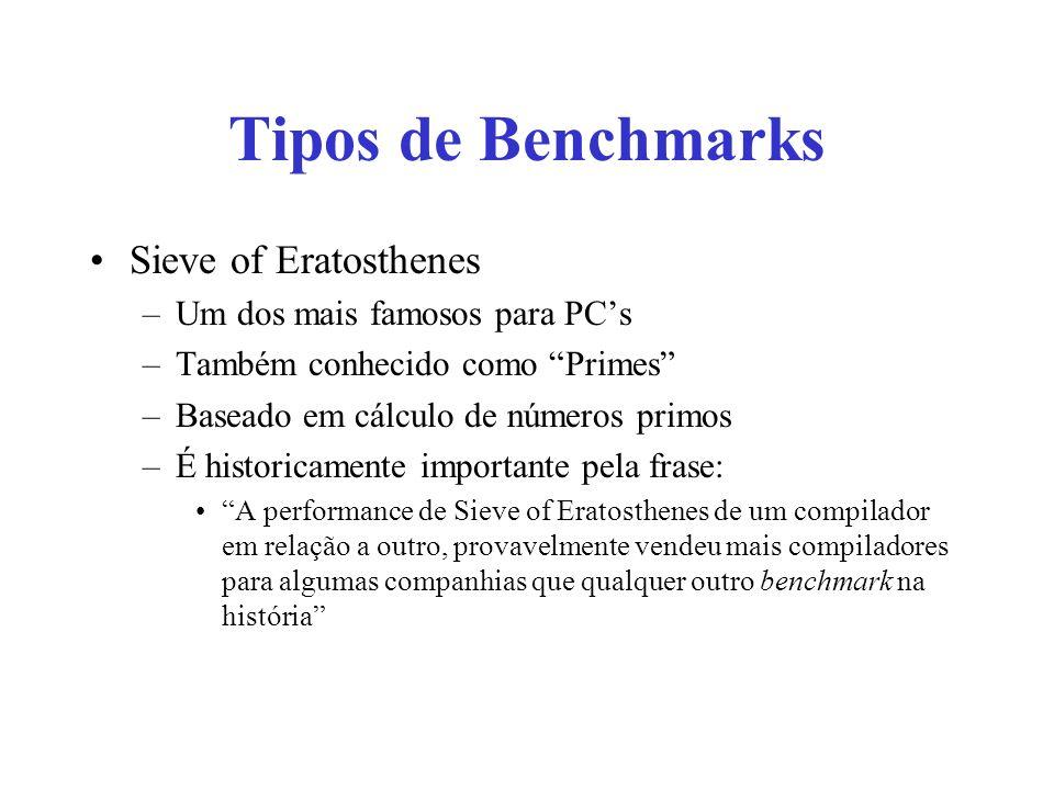 Tipos de Benchmarks Sieve of Eratosthenes –Um dos mais famosos para PCs –Também conhecido como Primes –Baseado em cálculo de números primos –É historicamente importante pela frase: A performance de Sieve of Eratosthenes de um compilador em relação a outro, provavelmente vendeu mais compiladores para algumas companhias que qualquer outro benchmark na história