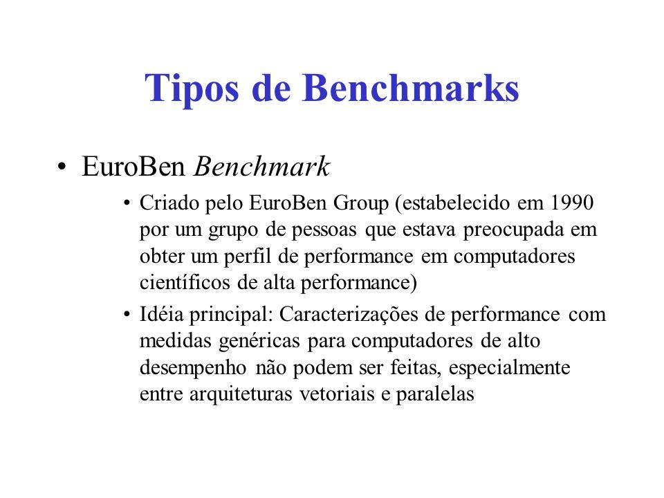 Tipos de Benchmarks EuroBen Benchmark Criado pelo EuroBen Group (estabelecido em 1990 por um grupo de pessoas que estava preocupada em obter um perfil de performance em computadores científicos de alta performance) Idéia principal: Caracterizações de performance com medidas genéricas para computadores de alto desempenho não podem ser feitas, especialmente entre arquiteturas vetoriais e paralelas