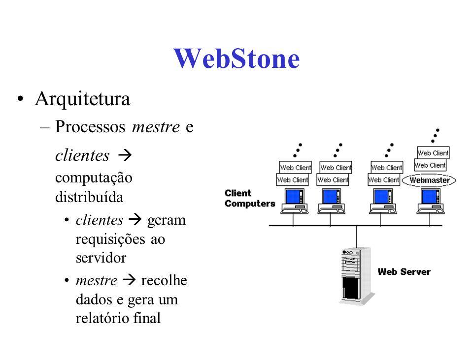 WebStone Arquitetura –Processos mestre e clientes computação distribuída clientes geram requisições ao servidor mestre recolhe dados e gera um relatório final