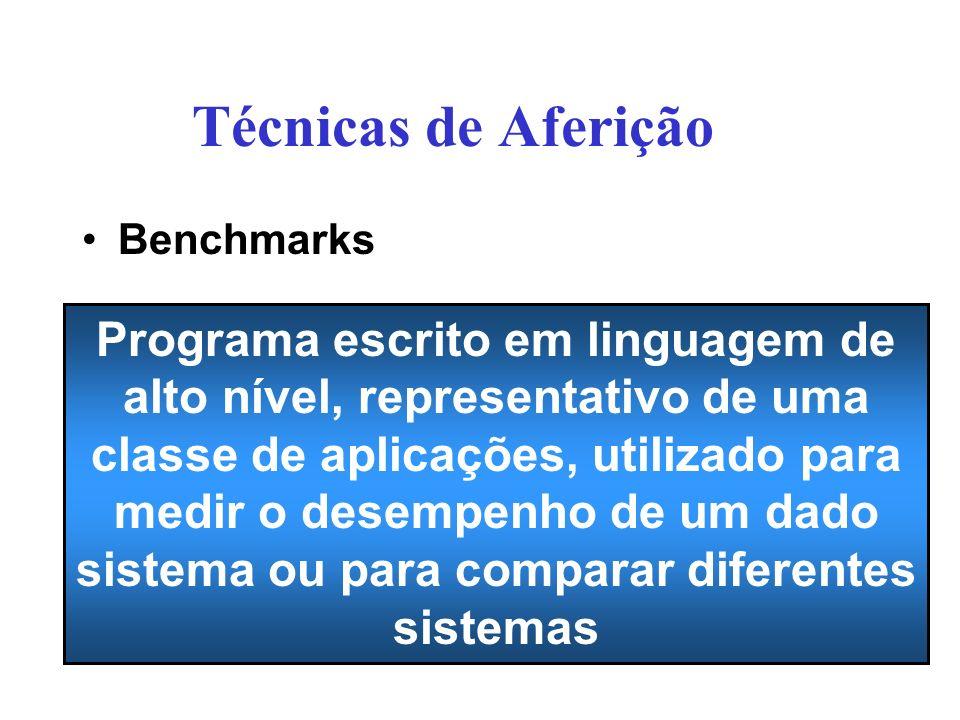 Benchmarks –Abordagem muito utilizada para a avaliação de desempenho por aferição –Ponto de referência que serve para fazer medições e comparações –Uso: Comparar desempenho de máquinas diferentes Reprojetar hardware e software Decidir sobre aquisição de sistemas Ajudar na otimização de programas Previsão de desempenho de aplicações em computadores específicos