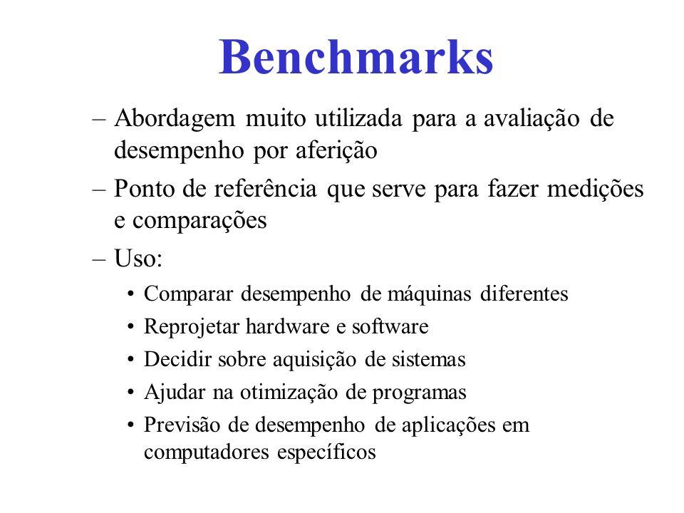 Tipos de Benchmarks Dhrystone –Benchmark sintético publicado por seu autor Reinhold Weicker da Siemens Nixdorf em 1984 –Dhrystone é aplicável em sistemas não numéricos com tipos de dados inteiros, como sistemas operacionais, compiladores, editores de texto, etc –Resultado: número de loops por segundo