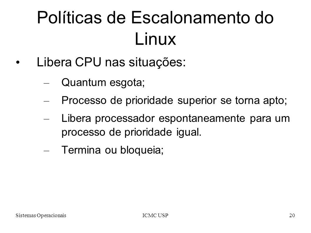 Sistemas OperacionaisICMC USP20 Políticas de Escalonamento do Linux Libera CPU nas situações: – Quantum esgota; – Processo de prioridade superior se t