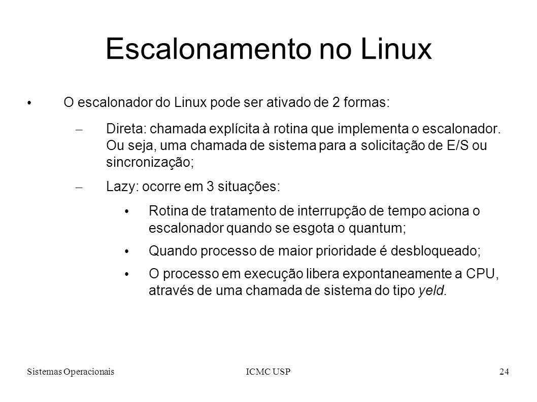 Sistemas OperacionaisICMC USP24 Escalonamento no Linux O escalonador do Linux pode ser ativado de 2 formas: – Direta: chamada explícita à rotina que i