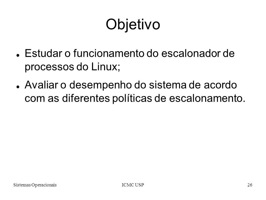 Sistemas OperacionaisICMC USP26 Objetivo Estudar o funcionamento do escalonador de processos do Linux; Avaliar o desempenho do sistema de acordo com a