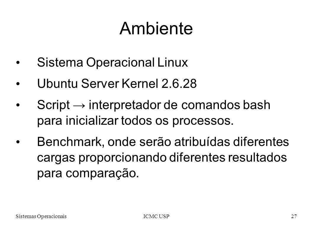 Sistemas OperacionaisICMC USP27 Ambiente Sistema Operacional Linux Ubuntu Server Kernel 2.6.28 Script interpretador de comandos bash para inicializar
