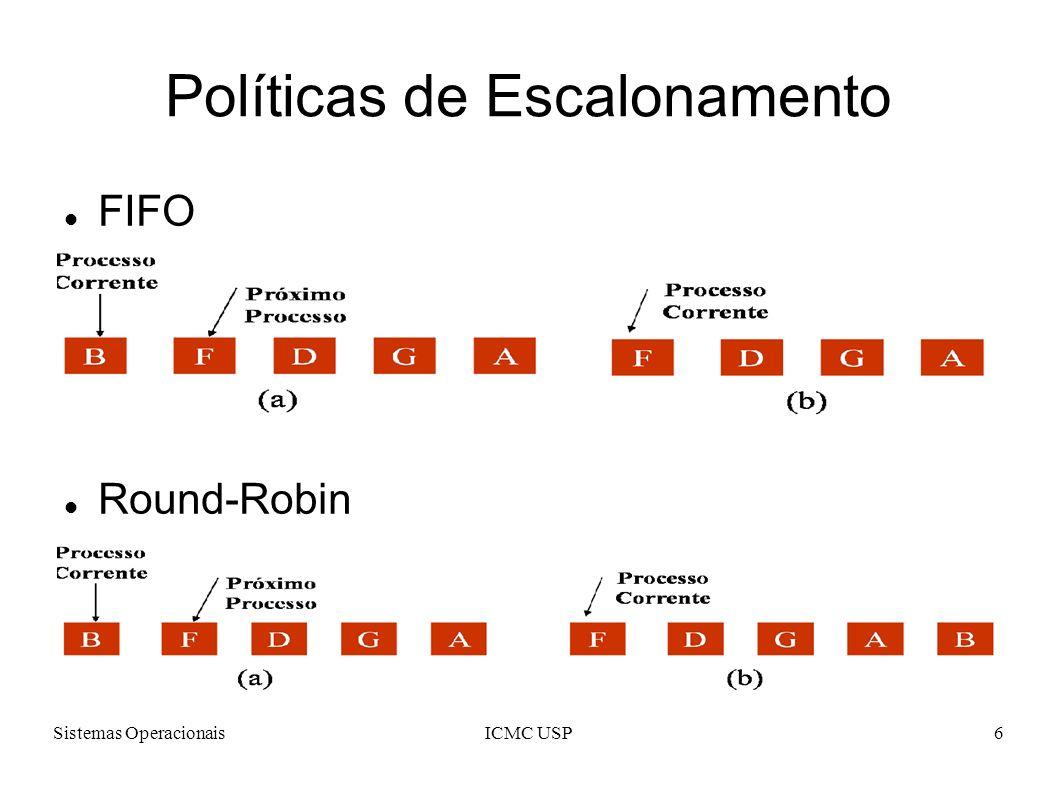 Sistemas OperacionaisICMC USP6 Políticas de Escalonamento FIFO Round-Robin