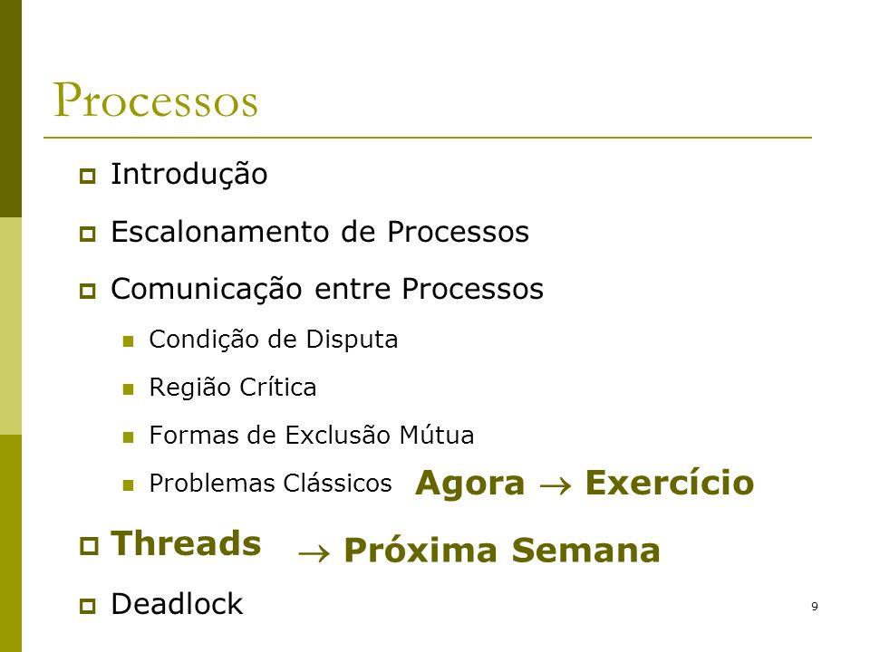 9 Processos Introdução Escalonamento de Processos Comunicação entre Processos Condição de Disputa Região Crítica Formas de Exclusão Mútua Problemas Cl