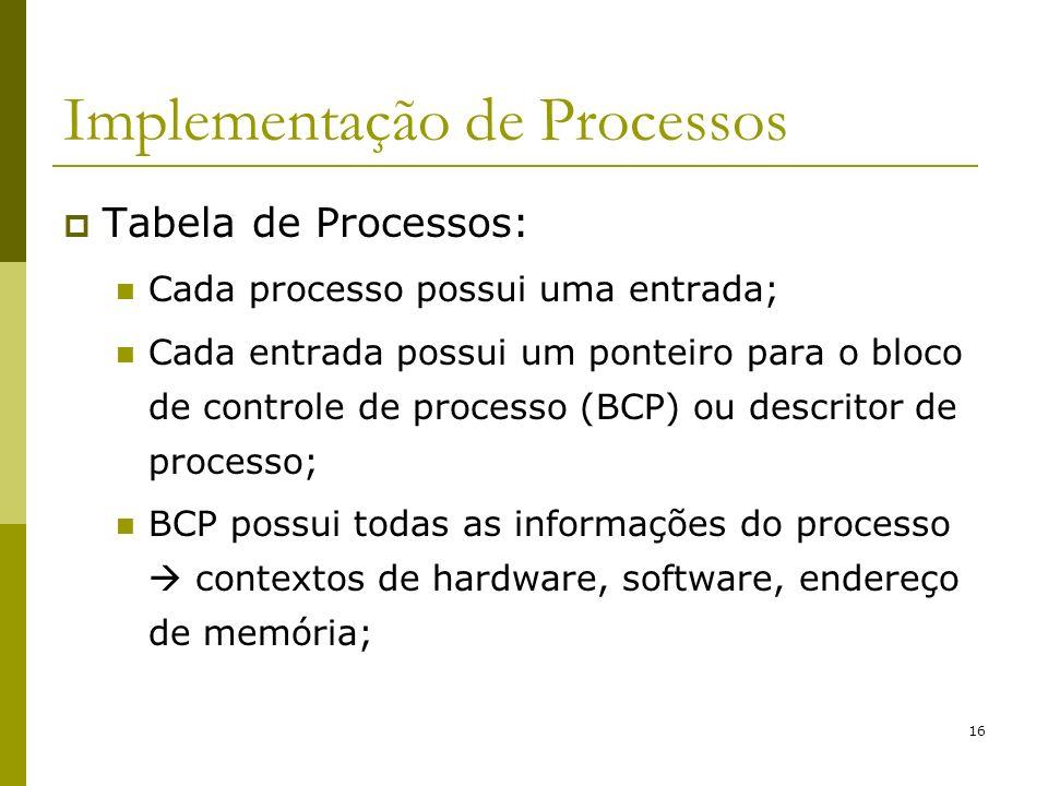 16 Implementação de Processos Tabela de Processos: Cada processo possui uma entrada; Cada entrada possui um ponteiro para o bloco de controle de proce