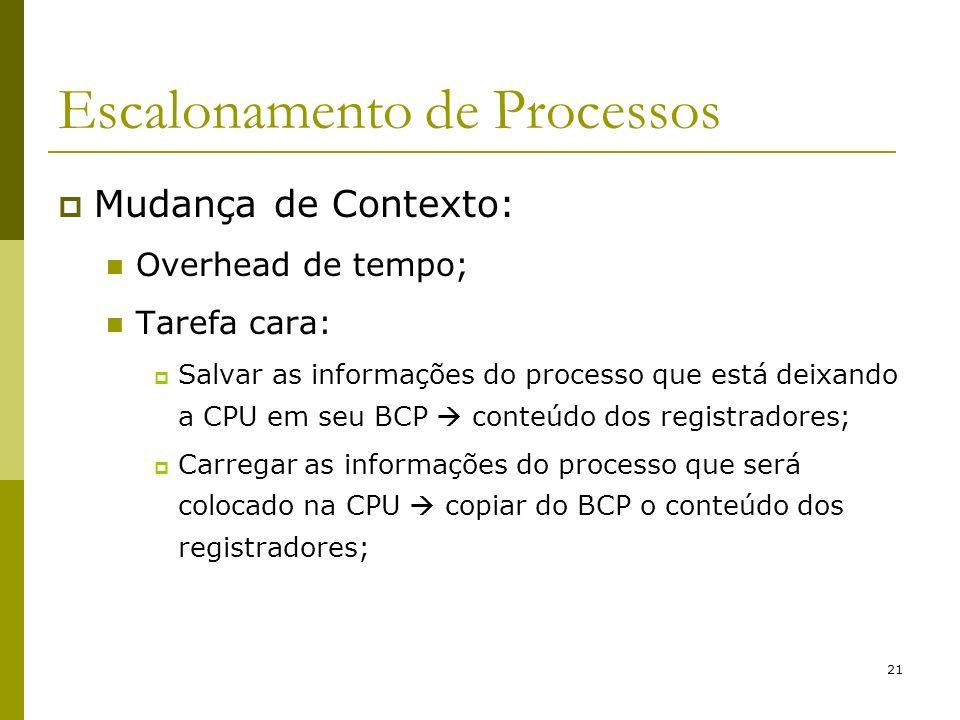 21 Escalonamento de Processos Mudança de Contexto: Overhead de tempo; Tarefa cara: Salvar as informações do processo que está deixando a CPU em seu BC