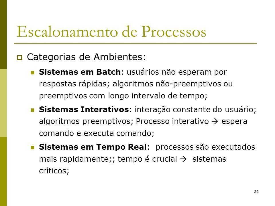 26 Escalonamento de Processos Categorias de Ambientes: Sistemas em Batch: usuários não esperam por respostas rápidas; algoritmos não-preemptivos ou pr