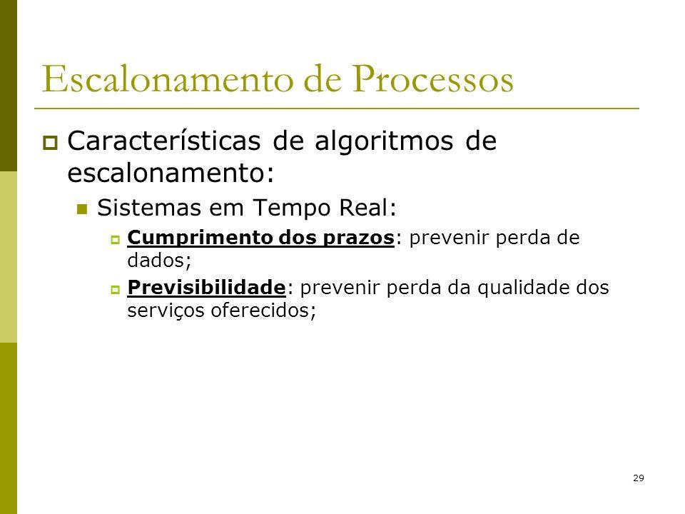 29 Escalonamento de Processos Características de algoritmos de escalonamento: Sistemas em Tempo Real: Cumprimento dos prazos: prevenir perda de dados;
