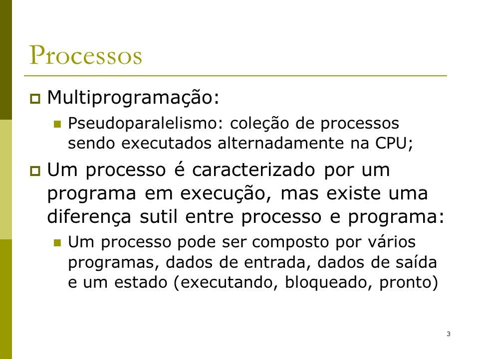3 Processos Multiprogramação: Pseudoparalelismo: coleção de processos sendo executados alternadamente na CPU; Um processo é caracterizado por um progr