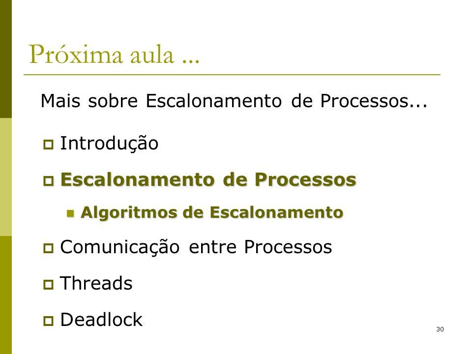 30 Próxima aula... Introdução Escalonamento de Processos Escalonamento de Processos Algoritmos de Escalonamento Algoritmos de Escalonamento Comunicaçã