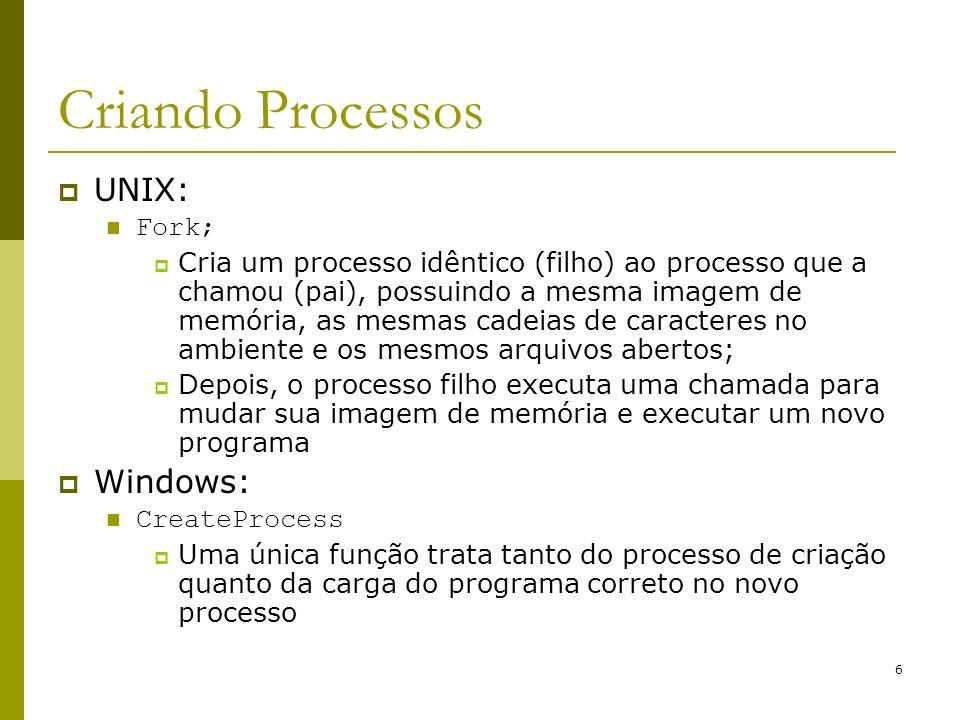 6 Criando Processos UNIX: Fork; Cria um processo idêntico (filho) ao processo que a chamou (pai), possuindo a mesma imagem de memória, as mesmas cadei