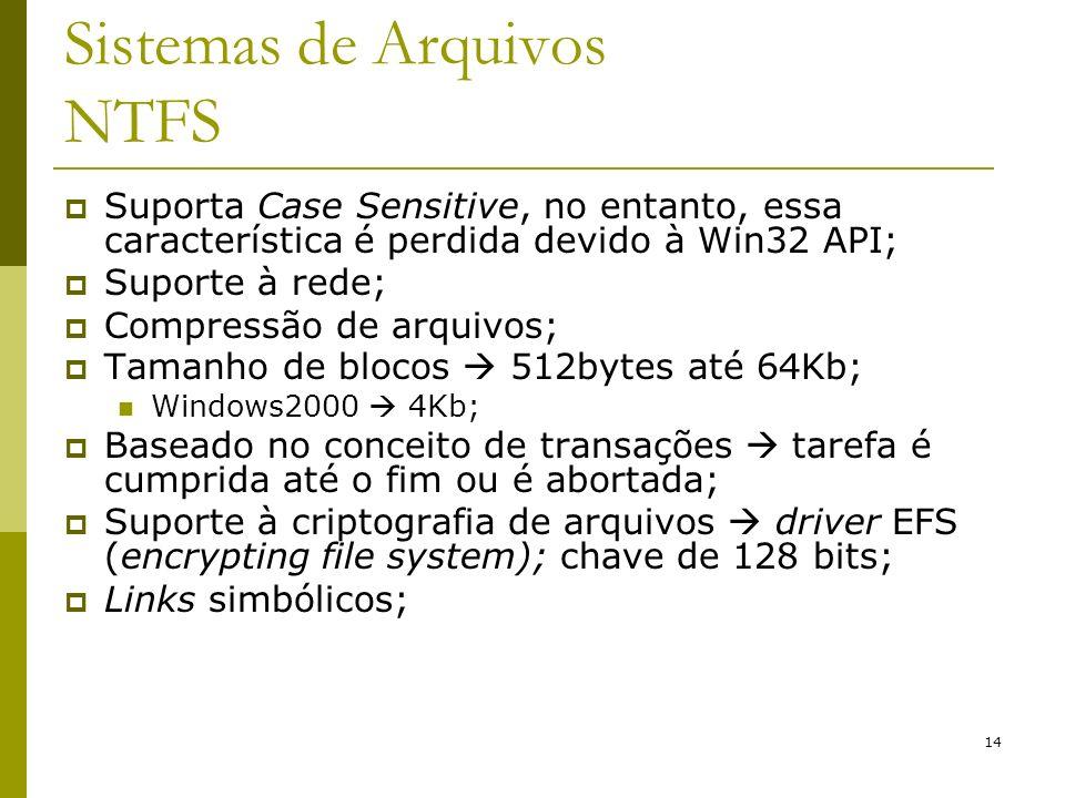 14 Sistemas de Arquivos NTFS Suporta Case Sensitive, no entanto, essa característica é perdida devido à Win32 API; Suporte à rede; Compressão de arqui