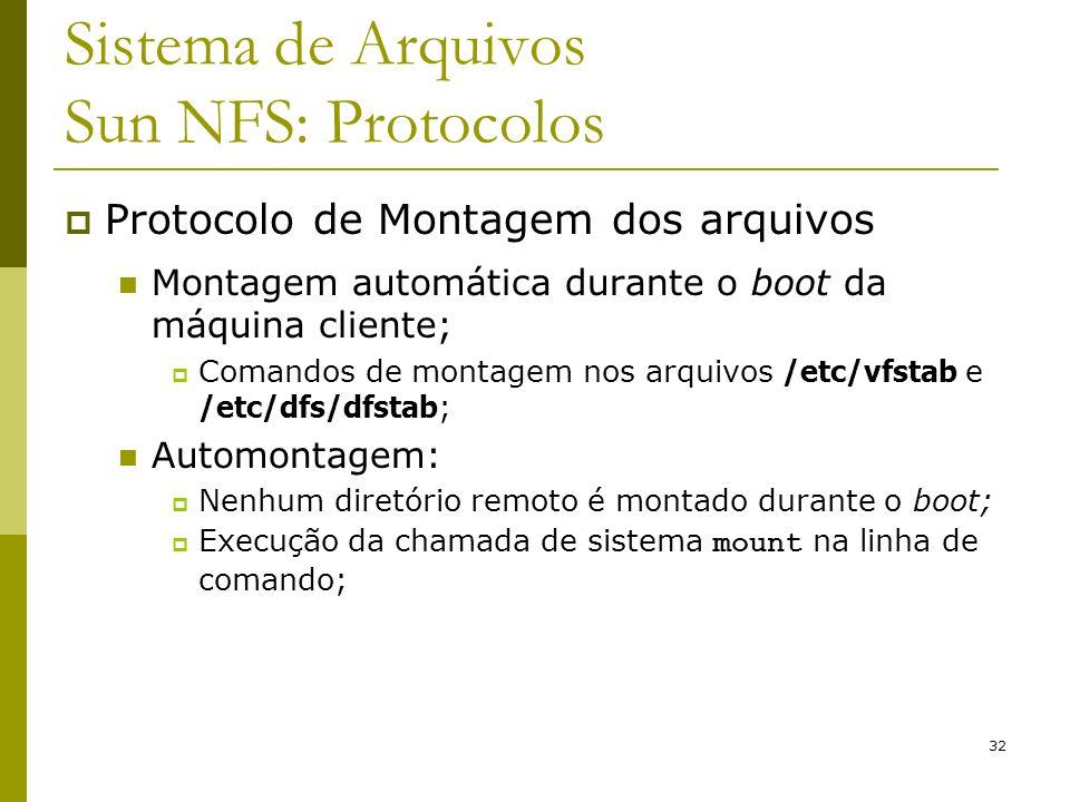 32 Sistema de Arquivos Sun NFS: Protocolos Protocolo de Montagem dos arquivos Montagem automática durante o boot da máquina cliente; Comandos de monta