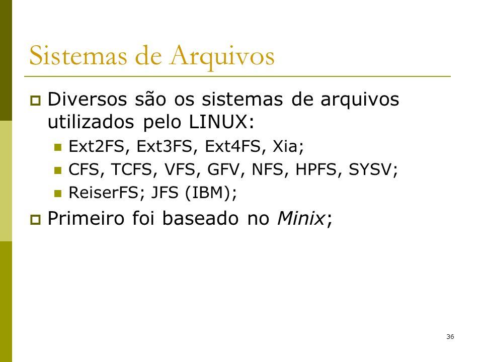 36 Sistemas de Arquivos Diversos são os sistemas de arquivos utilizados pelo LINUX: Ext2FS, Ext3FS, Ext4FS, Xia; CFS, TCFS, VFS, GFV, NFS, HPFS, SYSV;