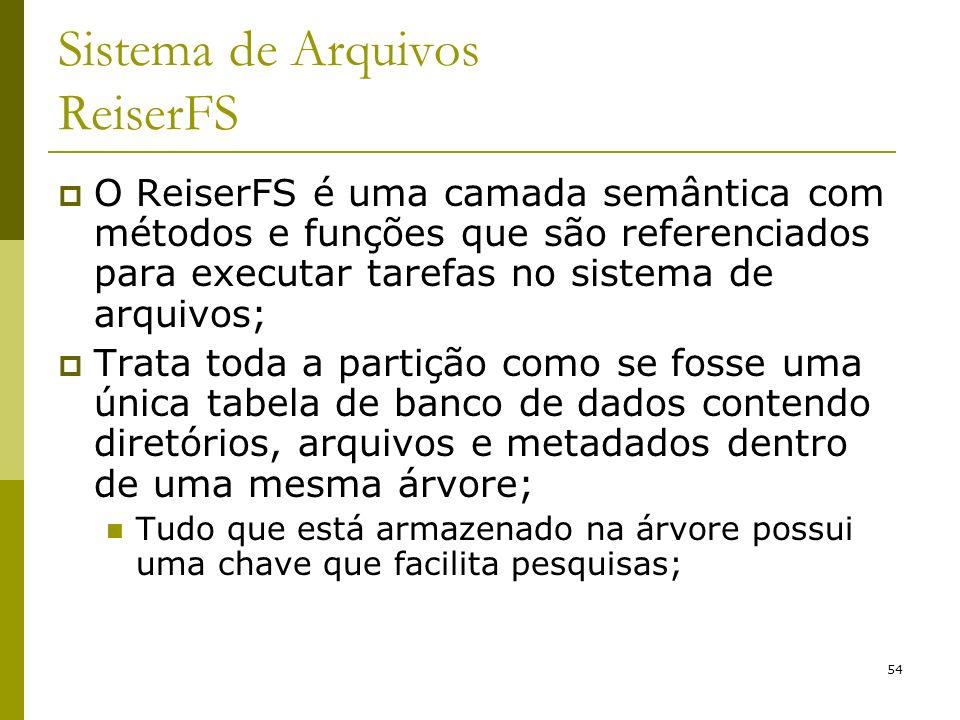 54 Sistema de Arquivos ReiserFS O ReiserFS é uma camada semântica com métodos e funções que são referenciados para executar tarefas no sistema de arqu