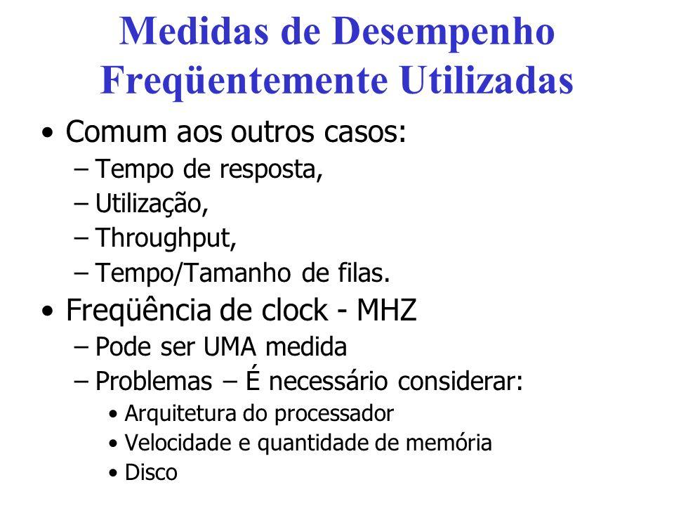 Medidas de Desempenho Freqüentemente Utilizadas Comum aos outros casos: –Tempo de resposta, –Utilização, –Throughput, –Tempo/Tamanho de filas.