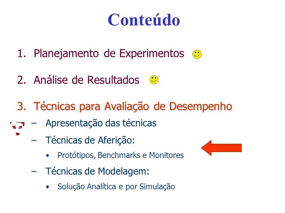 Conteúdo 1.Planejamento de Experimentos 2.Análise de Resultados 3.Técnicas para Avaliação de Desempenho –Apresentação das técnicas –Técnicas de Aferição: Protótipos, Benchmarks e Monitores –Técnicas de Modelagem: Solução Analítica e por Simulação