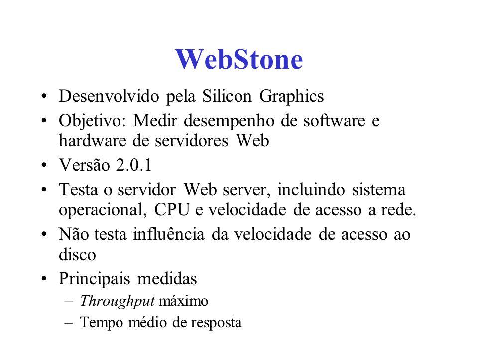 WebStone Desenvolvido pela Silicon Graphics Objetivo: Medir desempenho de software e hardware de servidores Web Versão 2.0.1 Testa o servidor Web server, incluindo sistema operacional, CPU e velocidade de acesso a rede.
