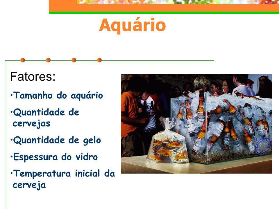 Fatores: Tamanho do aquário Quantidade de cervejas Quantidade de gelo Espessura do vidro Temperatura inicial da cerveja Aquário