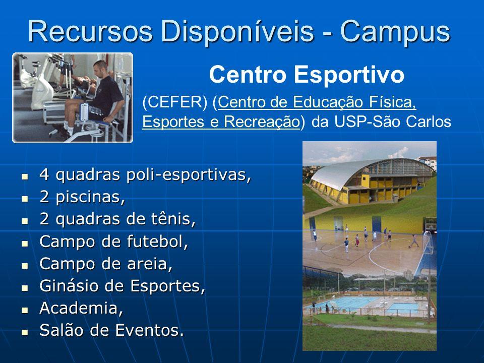 Recursos Disponíveis - Campus 4 quadras poli-esportivas, 4 quadras poli-esportivas, 2 piscinas, 2 piscinas, 2 quadras de tênis, 2 quadras de tênis, Ca